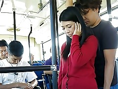 Japanese brunette, Aimi Nagano got fucked regarding hammer away bus, uncens