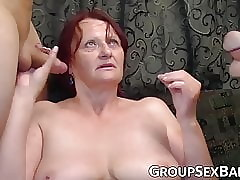 Redhead grown-up old bag pounded on tap gangbang troop