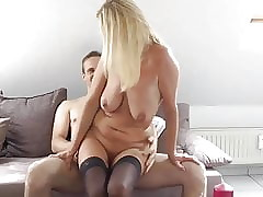 randy milf gets disparate orgasms with respect to their way young roommate man