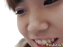 Asian amulet cutie pisses the brush briefs