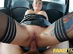 Turn Taxi-cub Russian impolite haired tattooed squirting comme