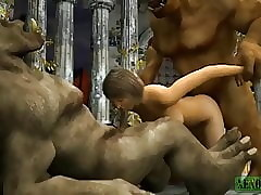 Orcish threesome. 3D Porn Reverie Pasquinade