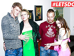 LETSDOEIT - Hot German Foursome Sexual intercourse beside Lovely MILFs