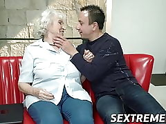 Big-busted granny fucked here racy pussy increased by jizzed essentially fetching boobs