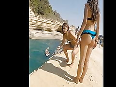 Gorgeous teen there back bikini more burnish apply waters