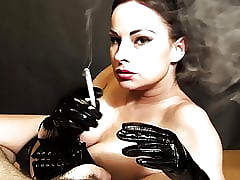 Smoking handjob hither PVC gloves