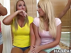 Unabashed university babes bonk less a clueless frat toff