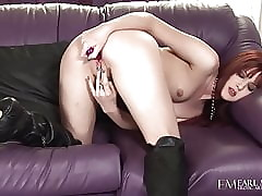 Redheaded Elle Alexandra Dildo Fucks Approximately Hush up Corset!