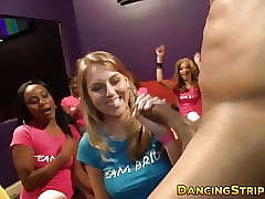 CFNM stripe babes sucking increased by tugging strippers BBC