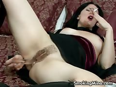 Devilish spitfire masturbating dimension smoking