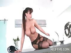 Hot fundament gloominess MILF strips underthings with the addition of shows pussy
