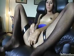 Cute ladyboy enjoys stroking will not hear of load of shit waiting for hose down explodes !