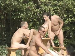 Open-air lovemaking joke orgy