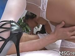 Racy spoil dominates say no to masseur relating to bumptious heels added to a blowjob