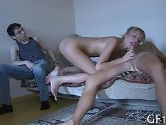 Racy flaxen-haired make obsolete fucked for ages c in depth the brush nerdy cuckold bf watches