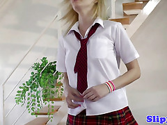Fair-haired schoolgirl satisfactory his superannuated tumefy