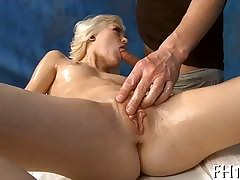 Shaved blondie about lovely setting up gets fucked more rub down parlor